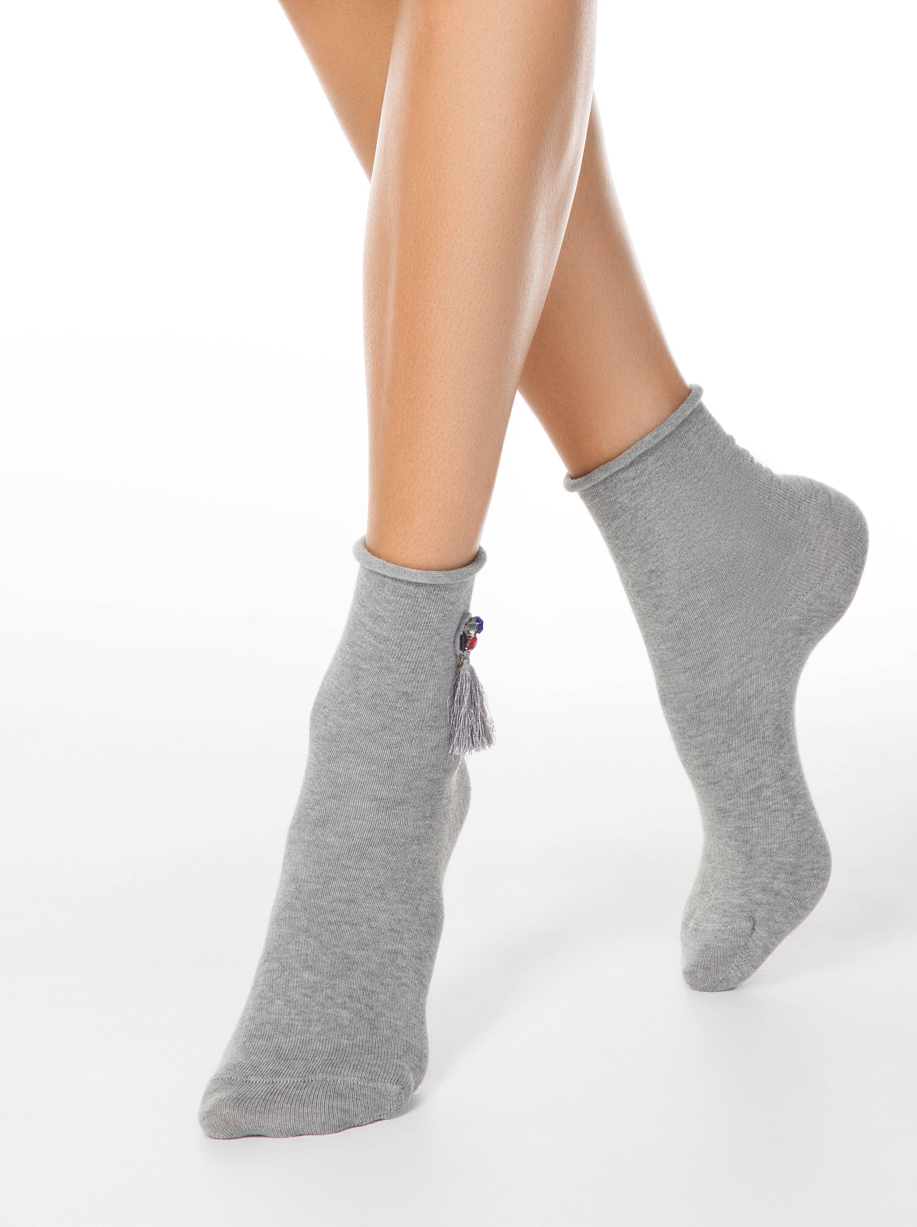Носки женские ⭐️ Удлиненные меланжевые носки с кисточками FANTASY ⭐️