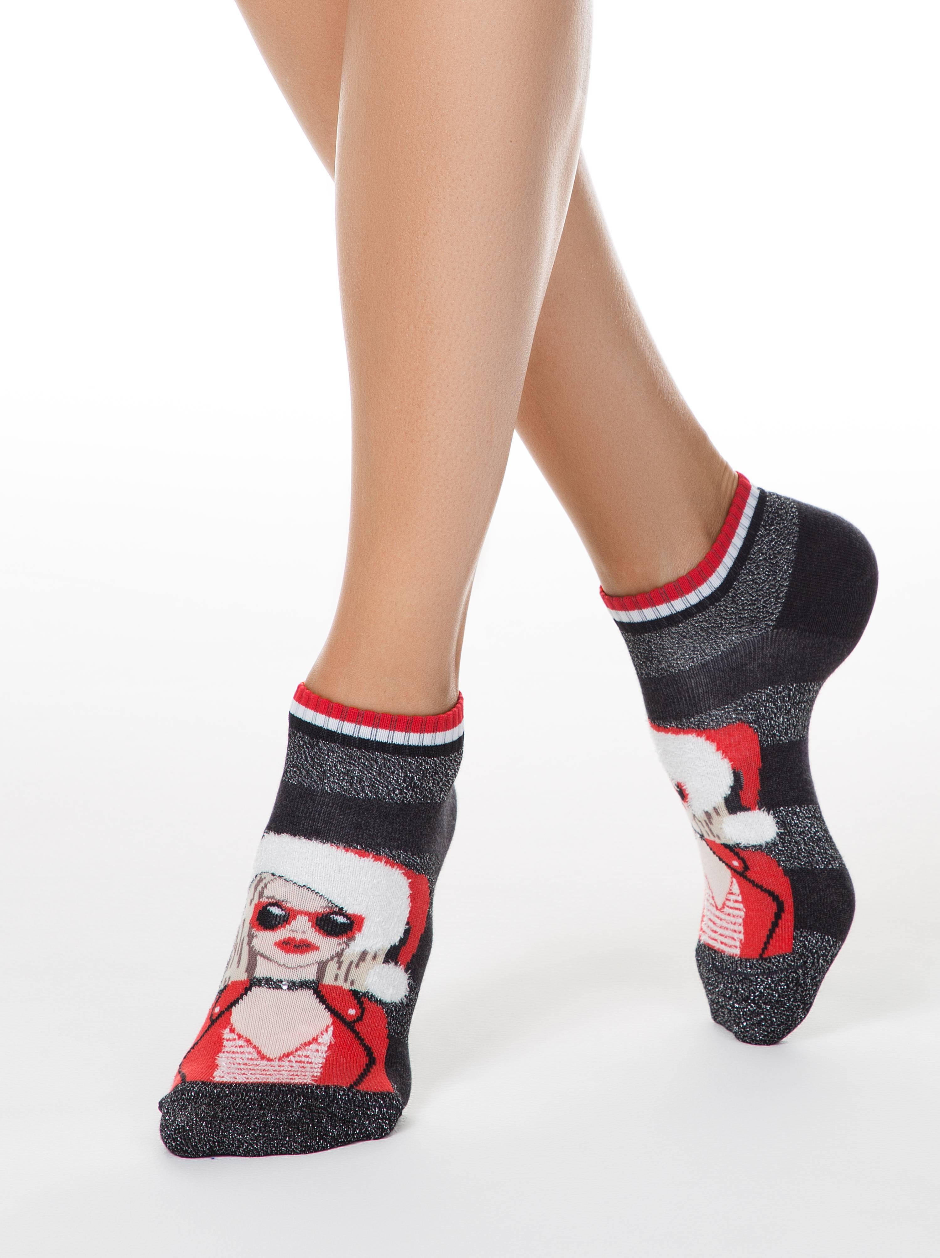 """Носки женские ⭐️ Короткие новогодние носки """"Подружка Санты"""" со стразами и люрексом ⭐️"""
