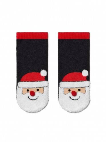 """Носки детские ⭐️ Детские короткие новогодние носки """"Санта-Клаус"""" с пушистой нитью и помпоном ⭐️"""