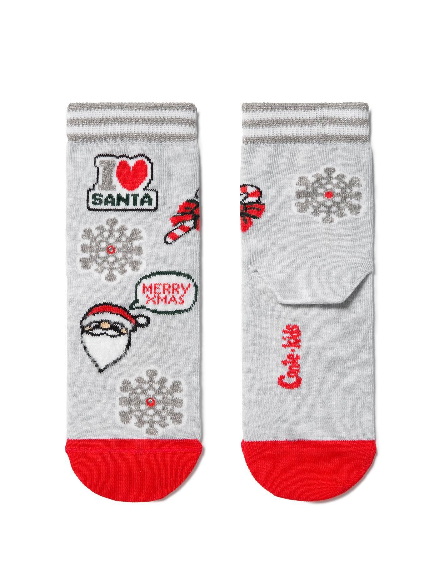 """Носки детские ⭐️ Новогодние носки """"Санта-Клаус"""" с люрексом и стразами ⭐️"""