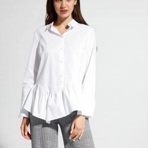 Блузка женская ⭐️ Белая хлопковая рубашка с ассиметричной баской LBL 1040 ⭐️