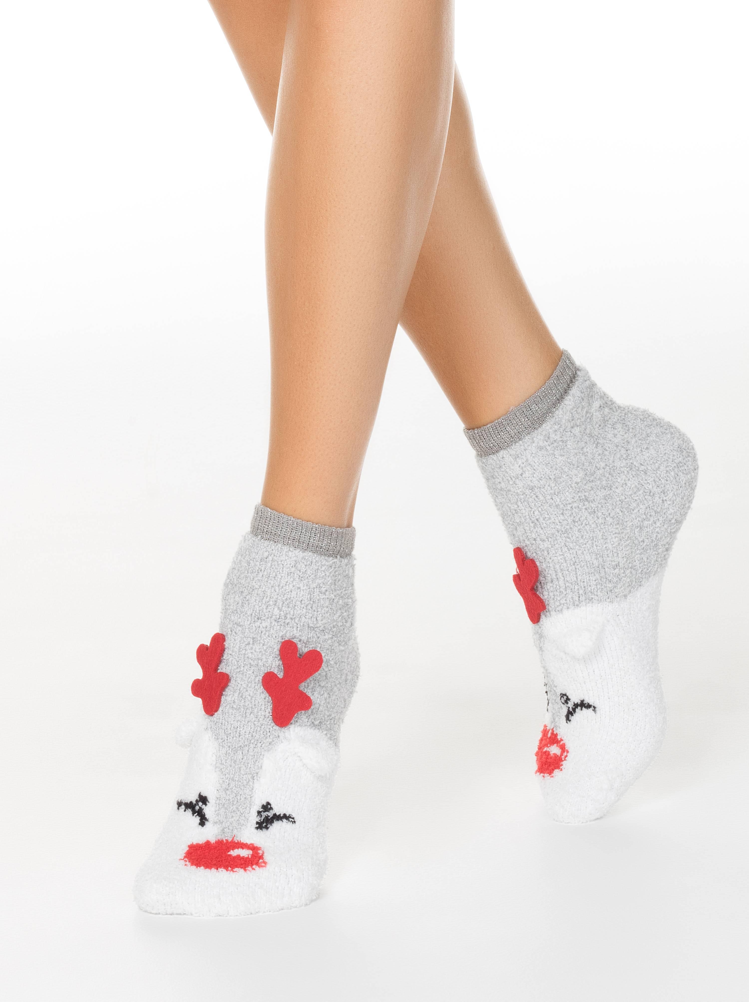 """Носки женские ⭐️ Короткие пушистые носки """"Рудольф"""" с люрексом и декоративными рожками ⭐️"""