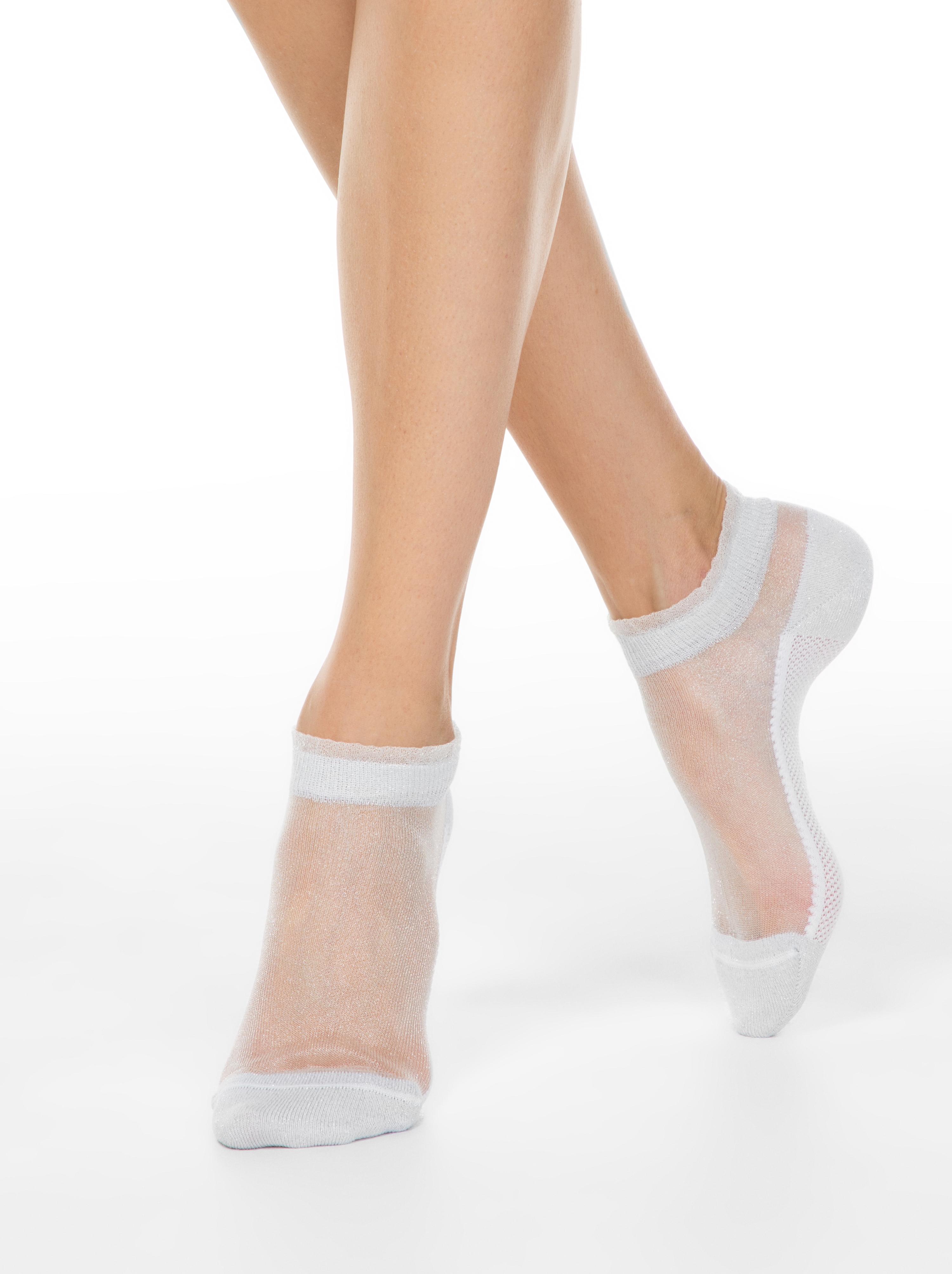 Носки женские ⭐️ Короткие прозрачные носки ACTIVE с люрексом ⭐️