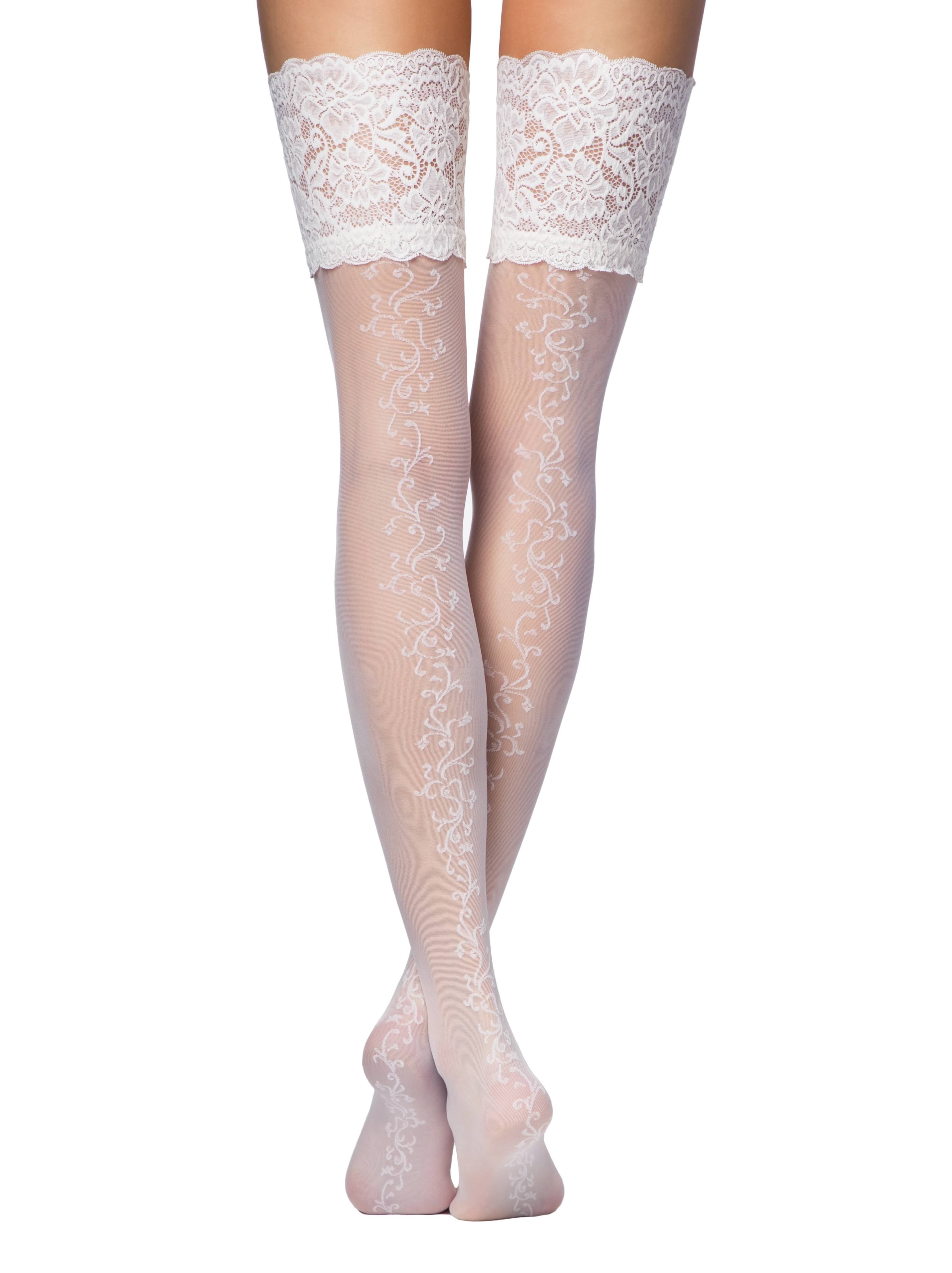 Чулки женские ⭐️ Свадебные чулки с широкой ажурной резинкой GLORY ⭐️