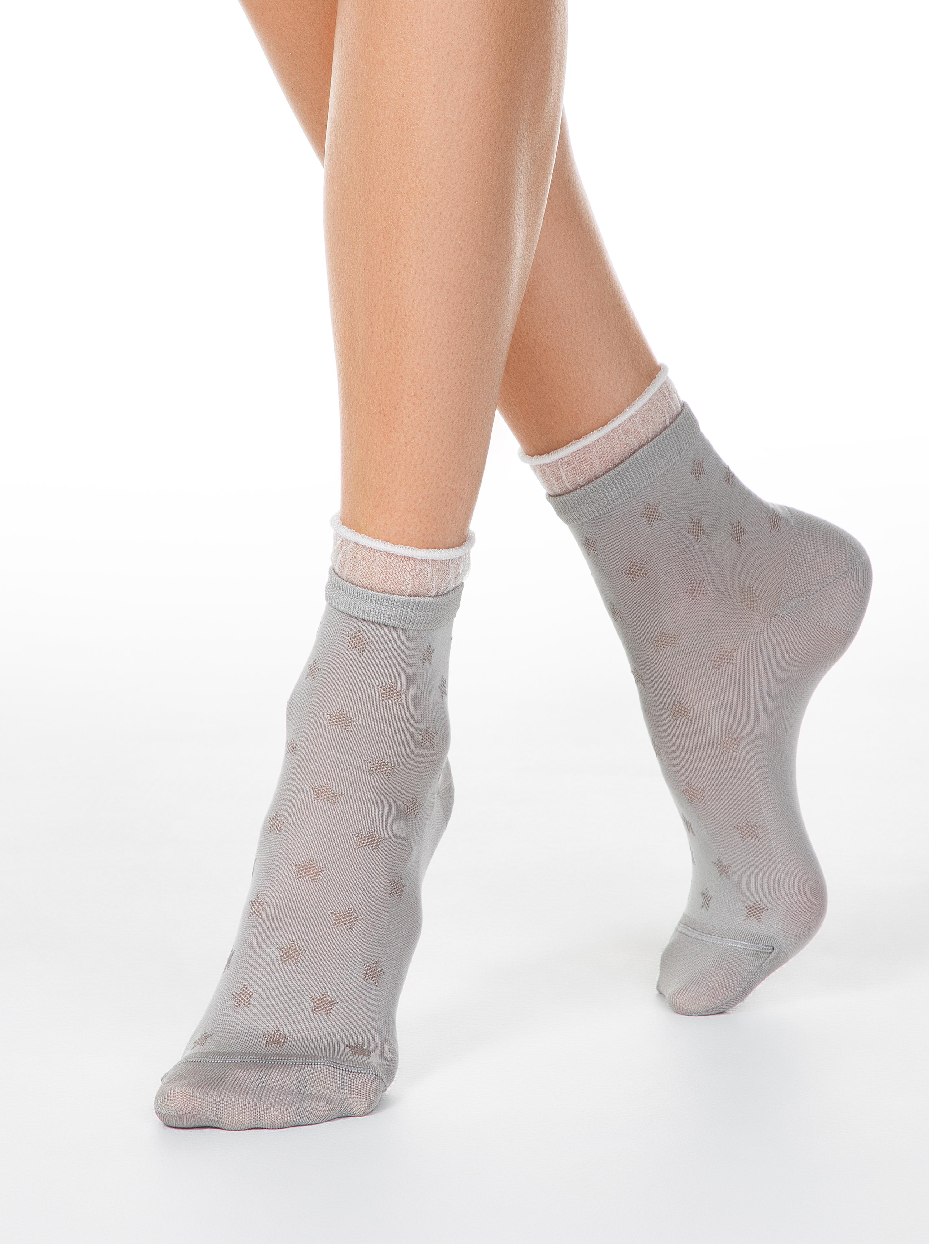 Носки женские ⭐️ Носки CLASSIC из вискозы с глянцевым рисунком и декоративной прозрачной сеткой ⭐️