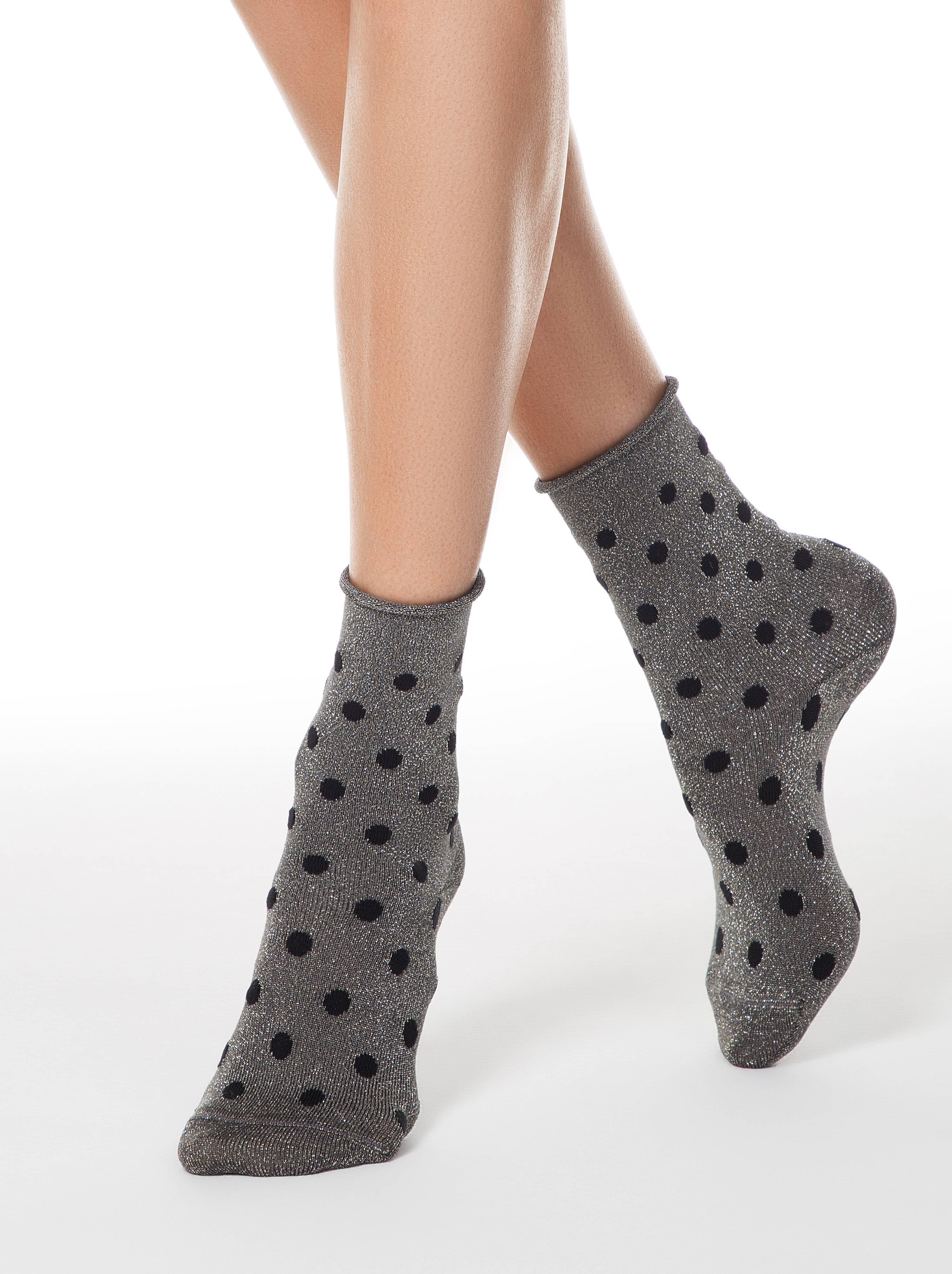 Носки женские ⭐️ Удлиненные носки FANTASY в горошек с люрексом ⭐️