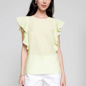Блузка женская ⭐️ Блузка в полоску с широкими воланами LBL 1093 ⭐️