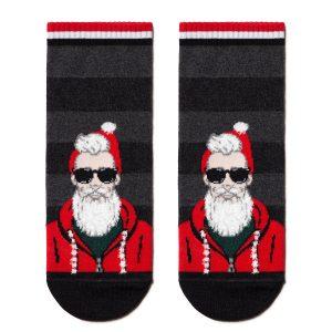 """Носки мужские ⭐️ Короткие новогодние носки """"Модный Санта"""" ⭐️"""