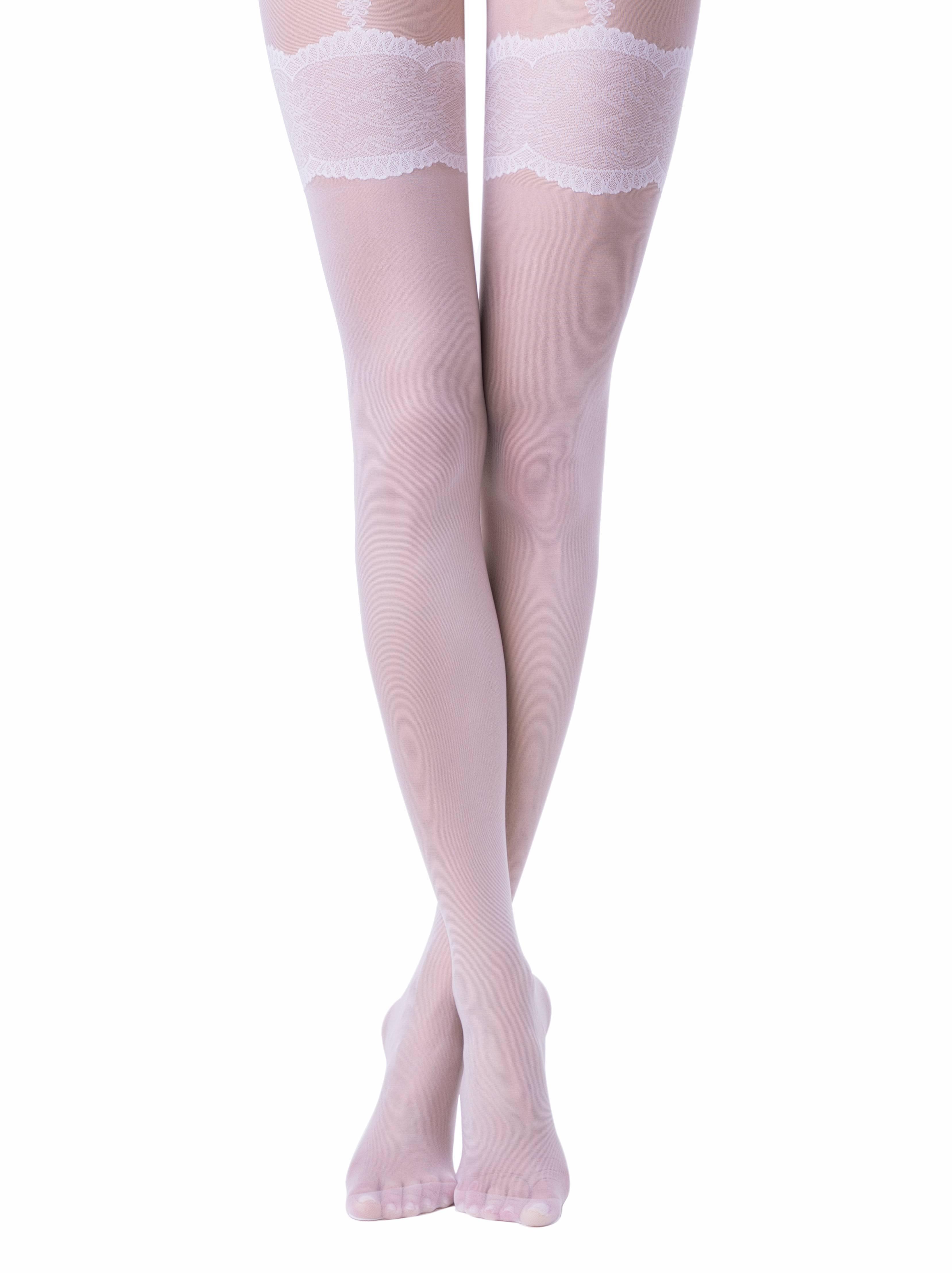 Колготки полиамидные женские ⭐️ Свадебные колготки с имитацией чулок на подвязках SENSUALE ⭐️