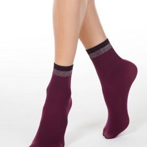 Носки женские ⭐️ Женские носки FANTASY с сияющим бортиком из двухцветного люрекса ⭐️