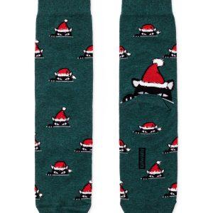 Носки мужские ⭐️ Мужские новогодние носки с пушистой нитью «Xmas cat» ⭐️