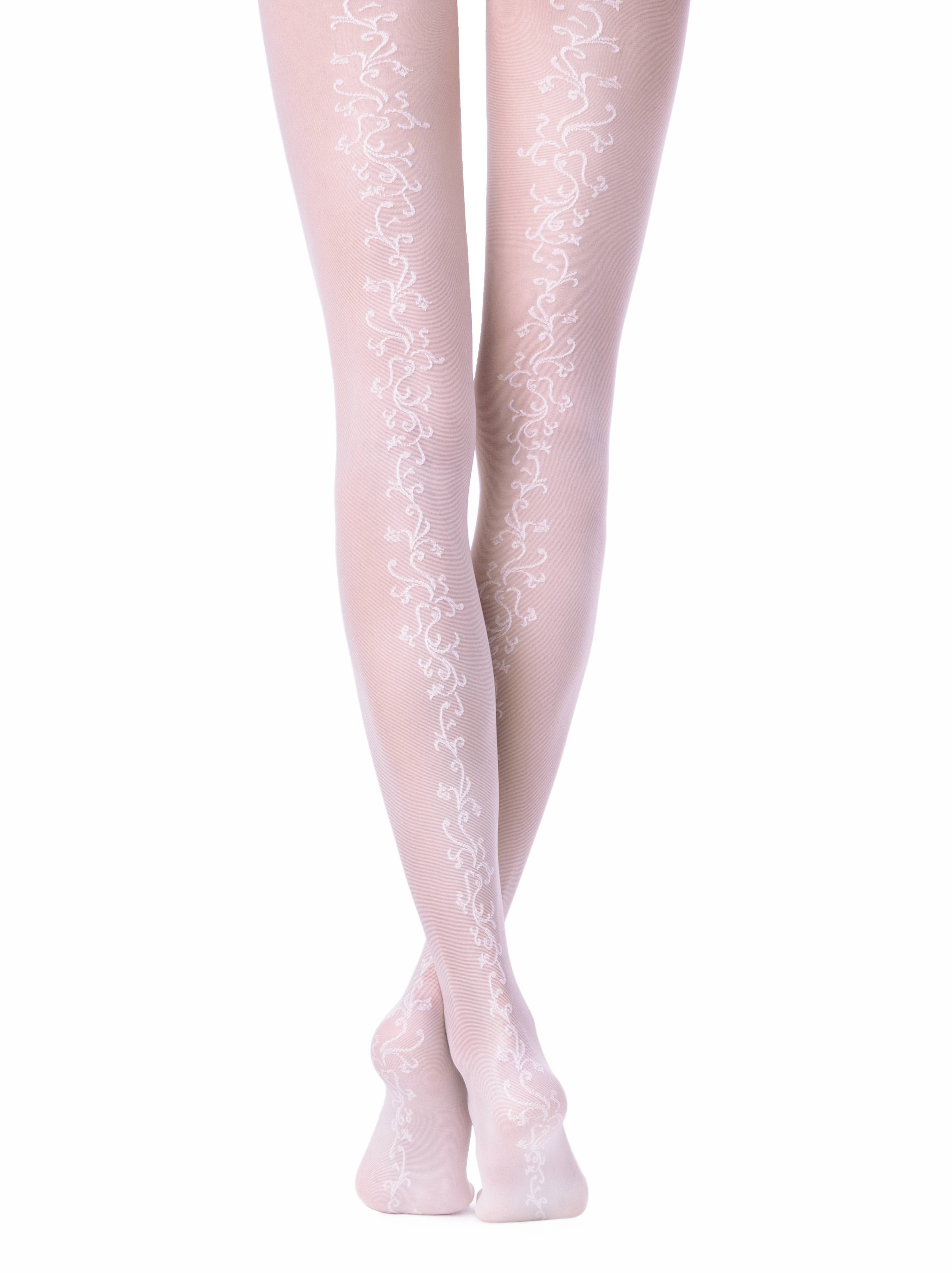 Колготки полиамидные женские ⭐️ Свадебные колготки с цветочным узором сзади GLORY ⭐️