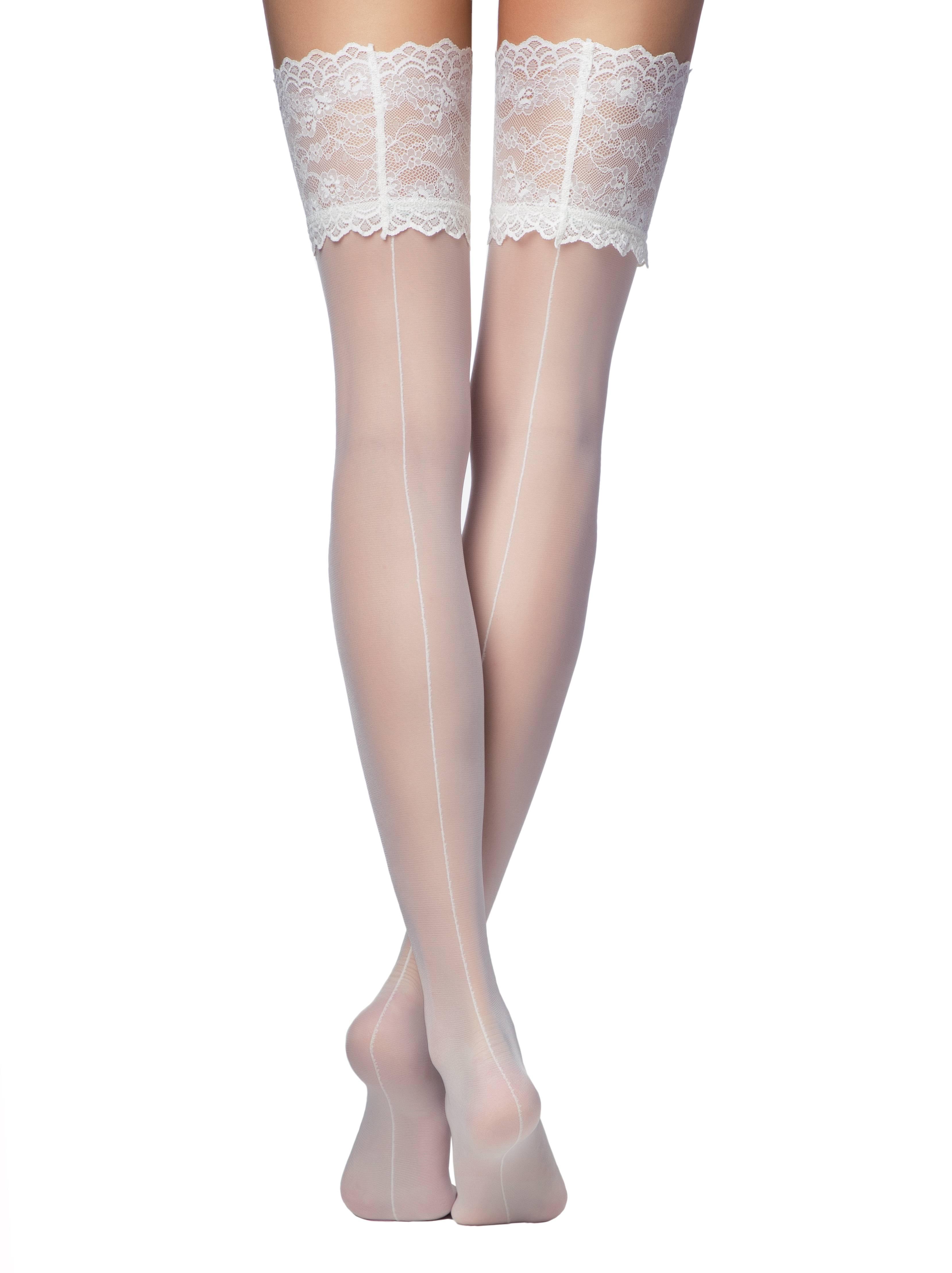 Чулки женские ⭐️ Свадебные чулки с широкой ажурной резинкой DELUXE ⭐️