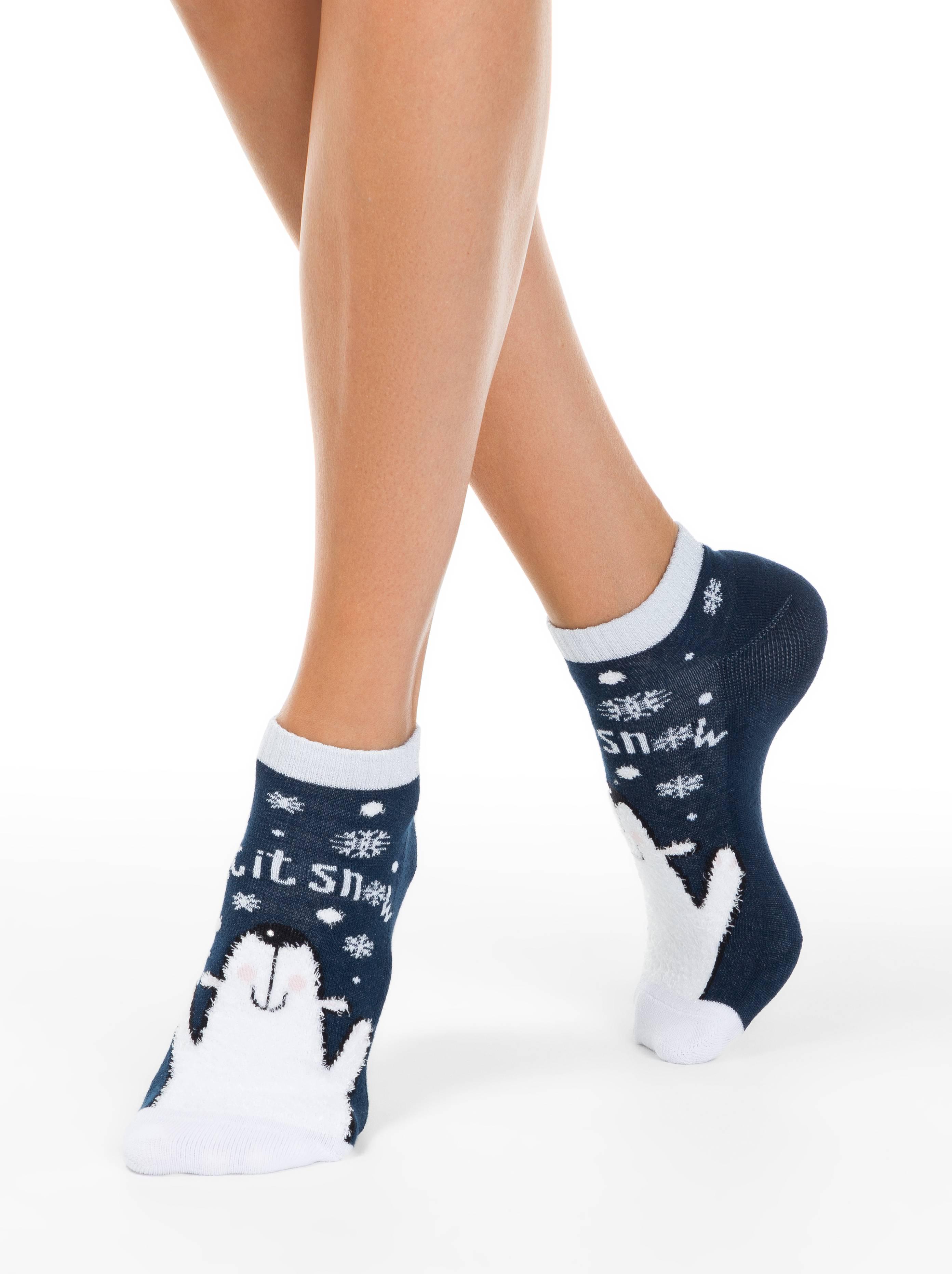 Носки женские ⭐️ Короткие новогодние носки со стразами и люрексом «Let it snow» ⭐️