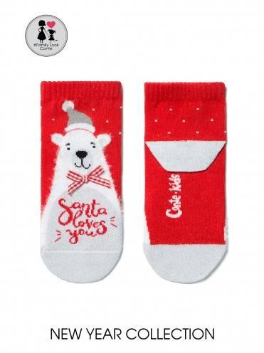 """Носки детские ⭐️ Новогодние носки """"Белый мишка"""" с пушистой нитью"""