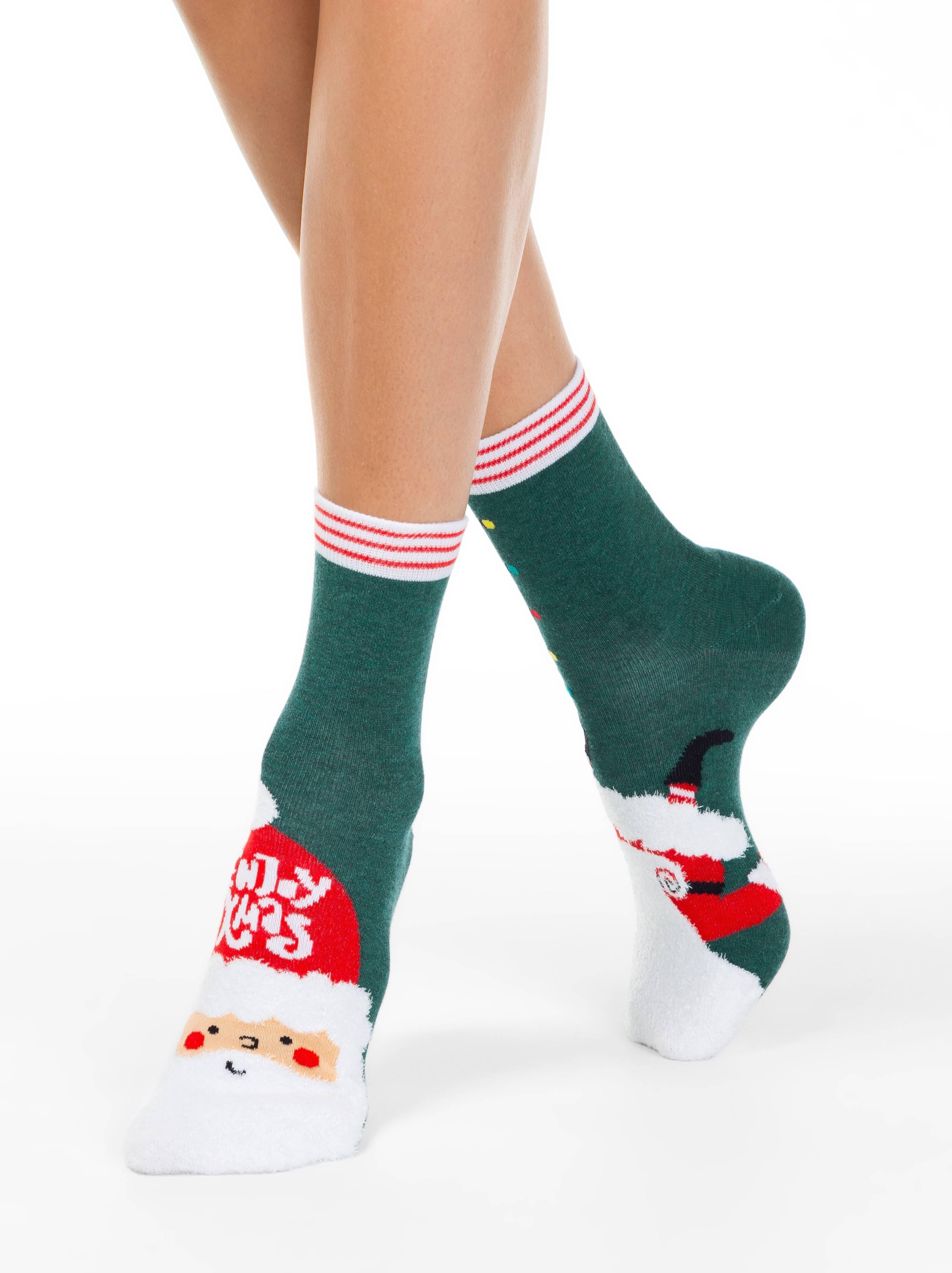 Носки женские ⭐️ Женские новогодние носки с пушистой нитью «Enjoy Xmas» ⭐️