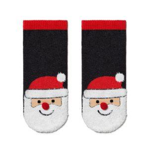 """Носки мужские ⭐️ Мужские короткие новогодние носки """"Санта-Клаус"""" с пушистой нитью и помпоном ⭐️"""