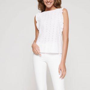 Блузка женская ⭐️ Блузка без рукавов с вышивкой ришелье и рюшами из хлопка премиального качества LBL 1089 ⭐️