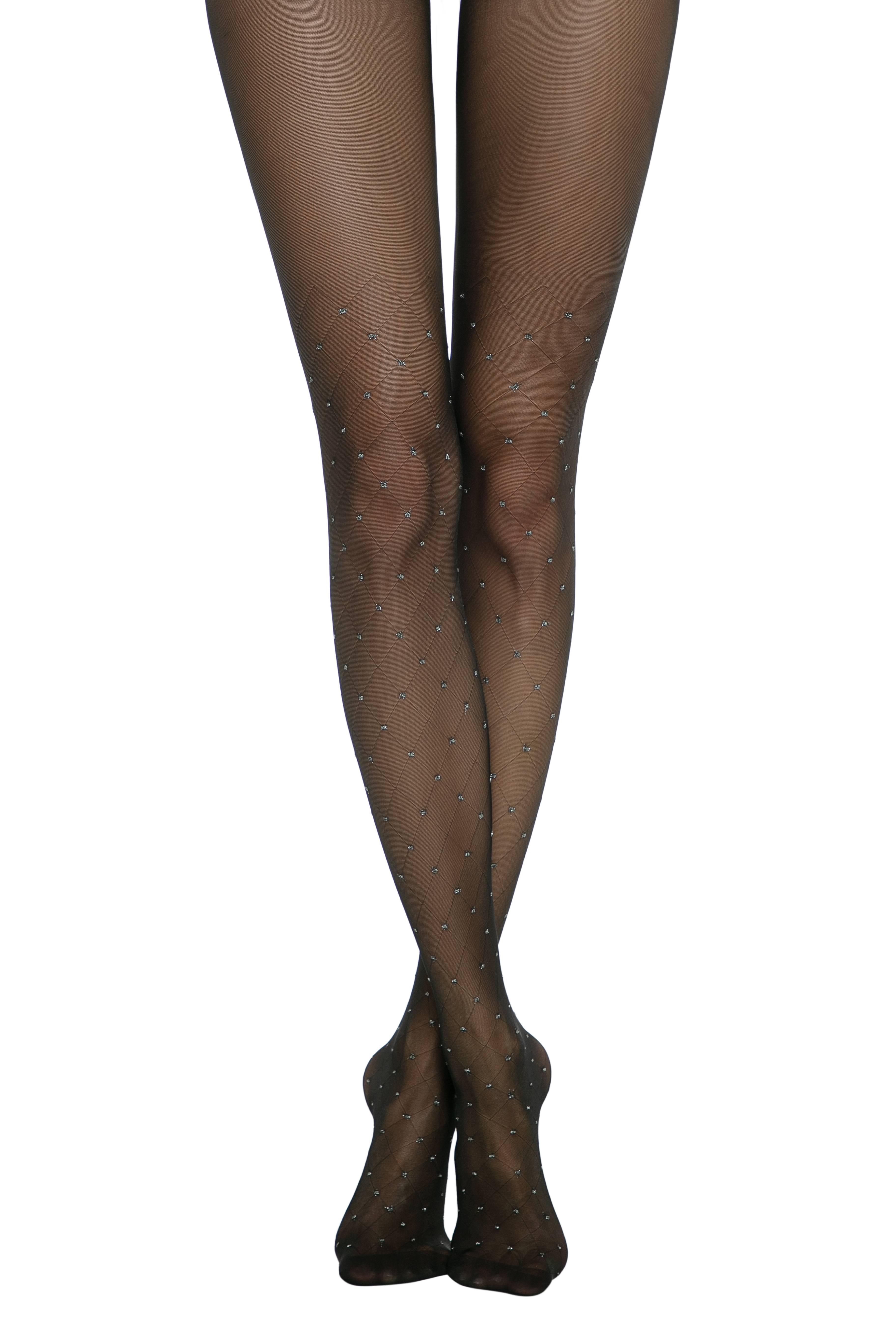 Колготки женские ⭐️ Колготки  с рисунком «ромбы» и горошком из люрекса LUSSO ⭐️