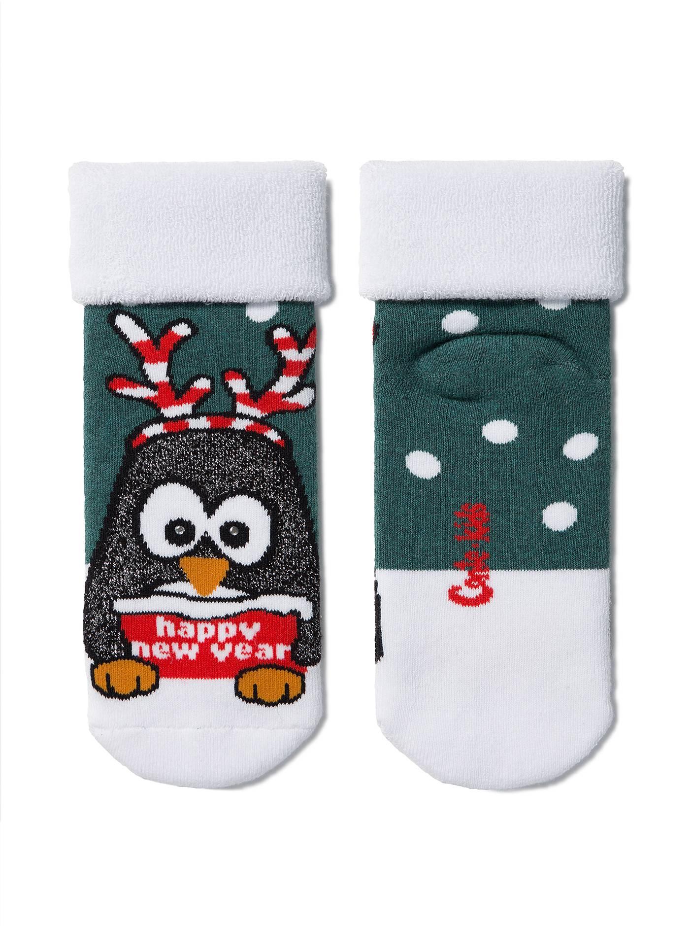 """Носки детские ⭐️ Новогодние махровые носки """"Пингвин"""" с отворотом"""