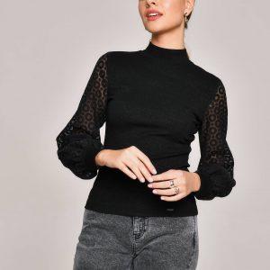Блузка женская ⭐️ Блузка в рубчик с пышными рукавами из ткани деворе LBL 1160 ⭐️