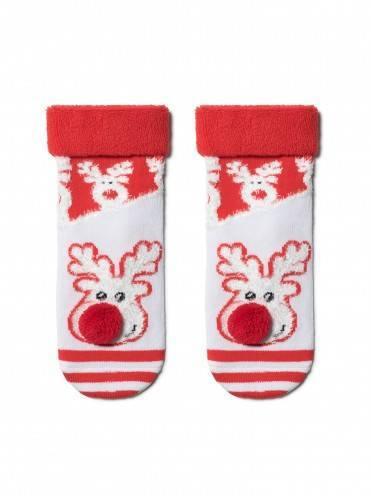 """Носки детские ⭐️ Новогодние носки """"Рудольф"""" с махровой стопой и отворотом ⭐️"""