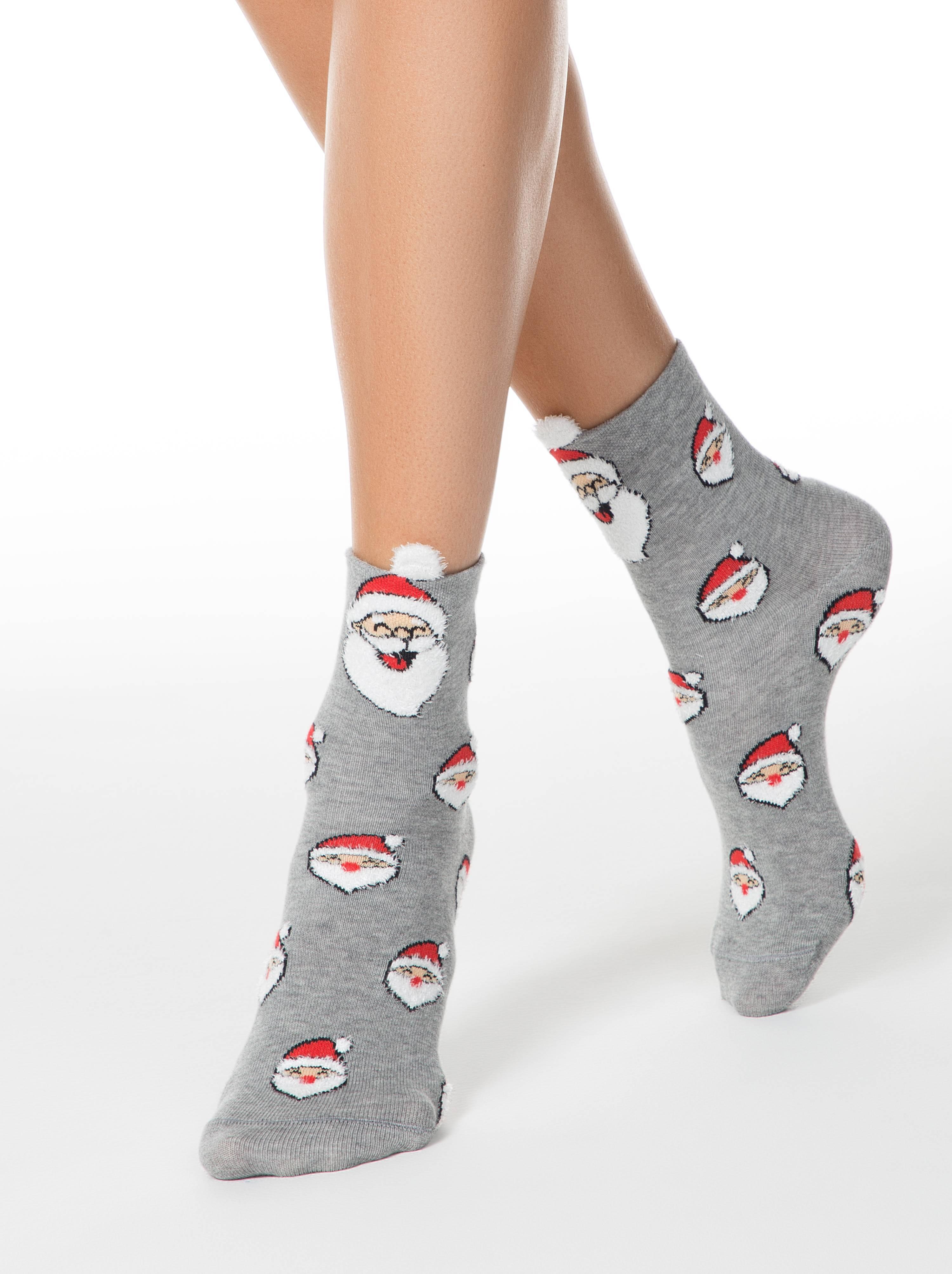 """Носки женские ⭐️ Женские новогодние носки """"Санта-Клаус"""" с пушистой нитью и пикотом ⭐️"""