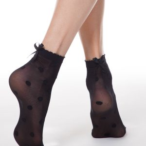 Носки женские ⭐️ Носки FANTASY 20 в горошек с декоративным бантиком ⭐️