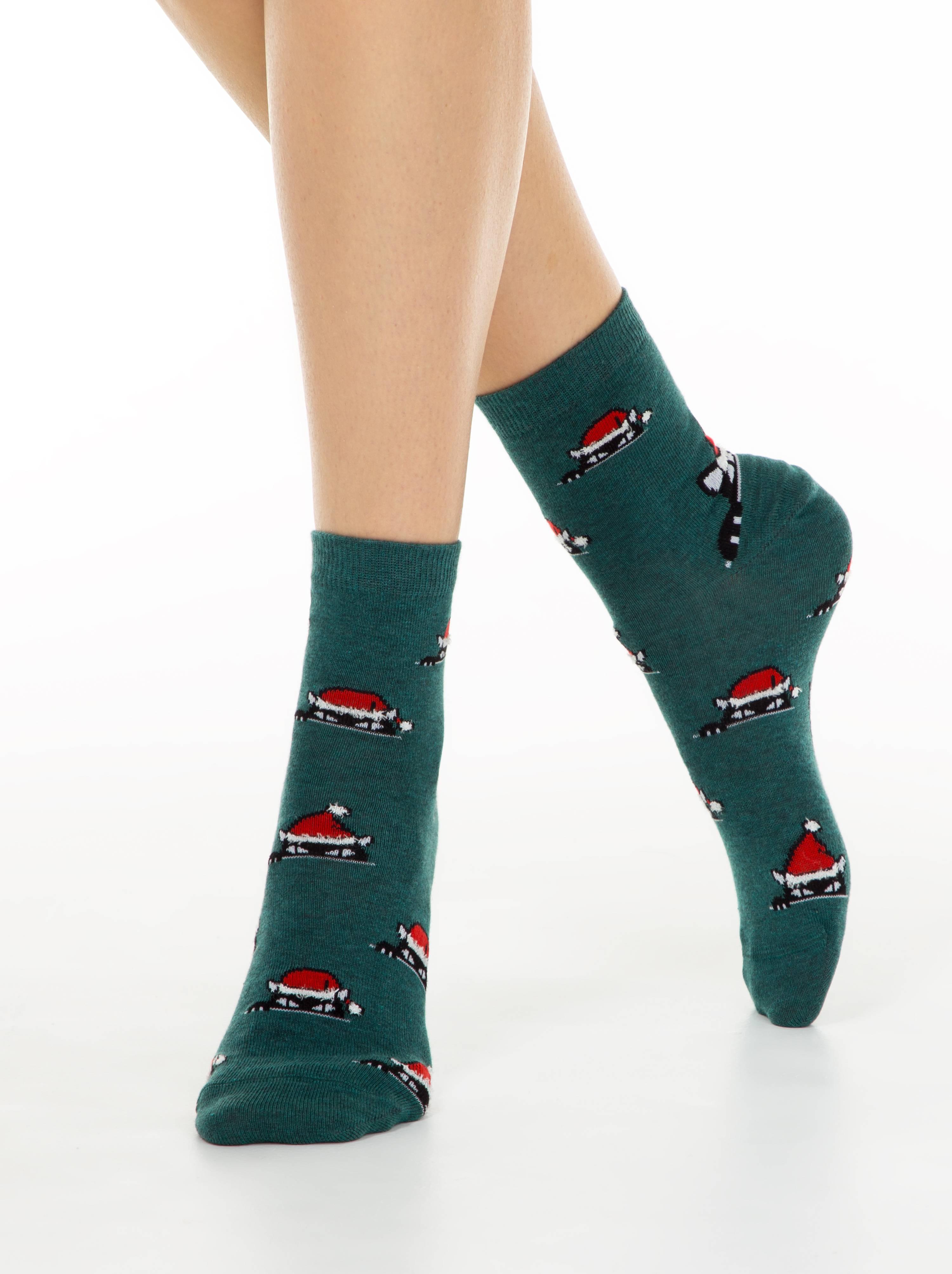 Носки женские ⭐️ Женские новогодние носки с пушистой нитью «Xmas cat» ⭐️